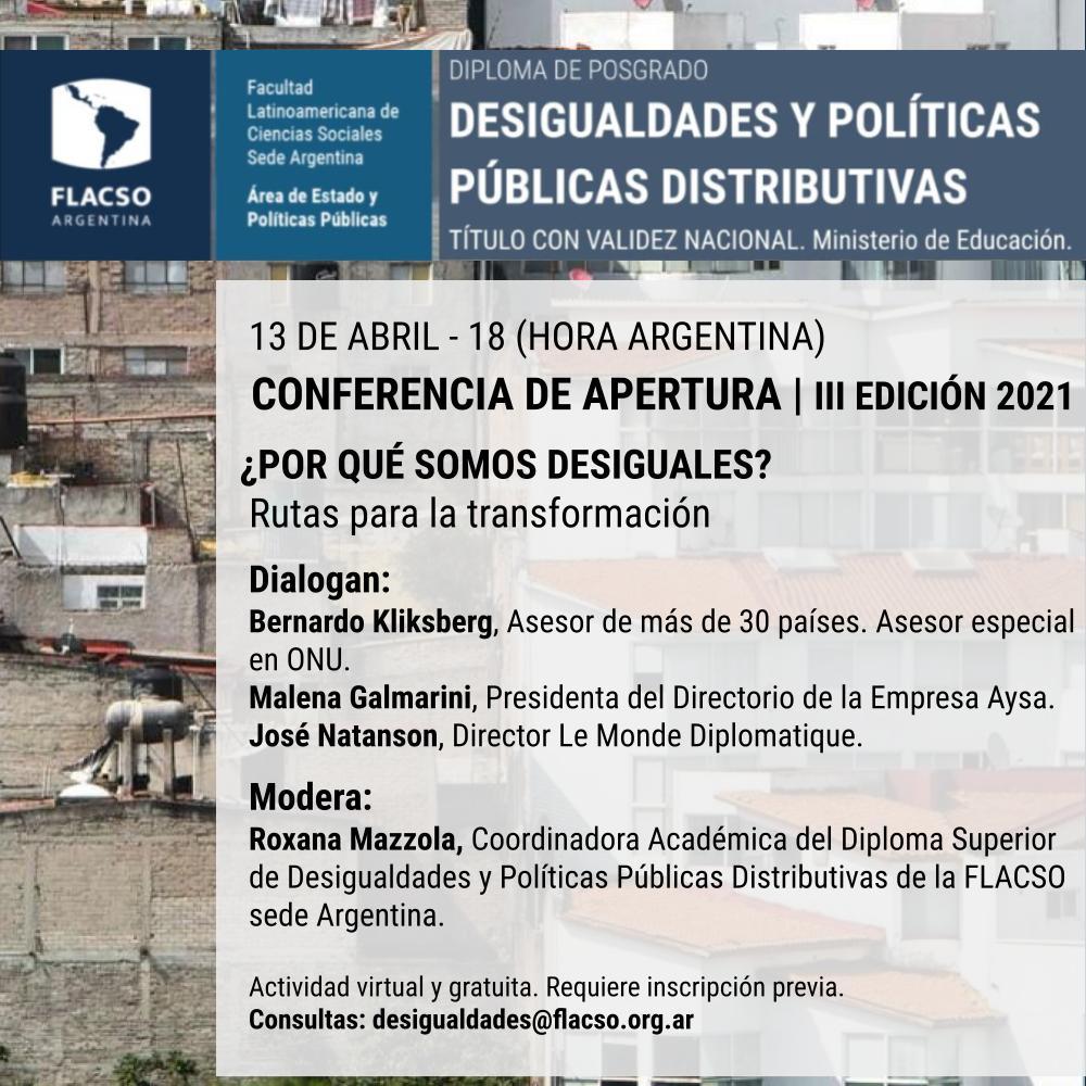 Conferencia de apertura   Diploma Superior de Desigualdades y Políticas Públicas Distributivas